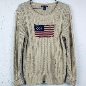 Ralph Lauren American Flag fisherman sweater XL